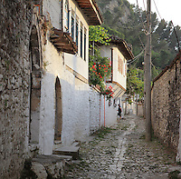 Narrow street of traditional whitewashed houses in the Gorica Quarter in Berat, South-Central Albania, capital of the District of Berat and the County of Berat. Picture by Manuel Cohen