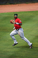 Birmingham Barons outfielder Courtney Hawkins (10) catches a fly ball during a game against the Biloxi Shuckers on May 24, 2015 at Joe Davis Stadium in Huntsville, Alabama.  Birmingham defeated Biloxi 6-4 as the Shuckers are playing all games on the road, or neutral sites like their former home in Huntsville, until the teams new stadium is completed.  (Mike Janes/Four Seam Images)