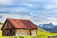 Old homestead log cabing, Sawtooth Mountains, Stanley Idaho.