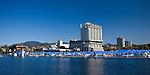 Idaho,North,Coeur d'Alene. The world class Coeur d'Alene Resort and boardwalk marina in the tourist town of Coeur d'Alene.