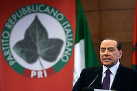 Il Presidente del Consiglio Silvio Berlusconi interviene al congresso del Partito Repubblicano Italiano, in corso a Roma, 26 febbraio 2011..Italian Premier Silvio Berlusconi takes part in the Italian Republican Party's congress, in Rome, 26 february 2011..UPDATE IMAGES PRESS/Riccardo De Luca