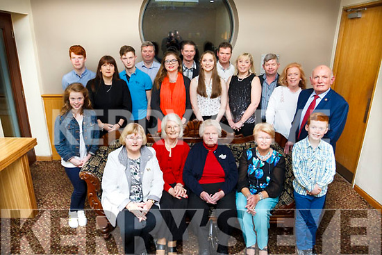 Marie Quilter of Lixnaw seated center celebrating her 80th birthday with her family at the Ballyroe Heights Hotel on Saturday night last.