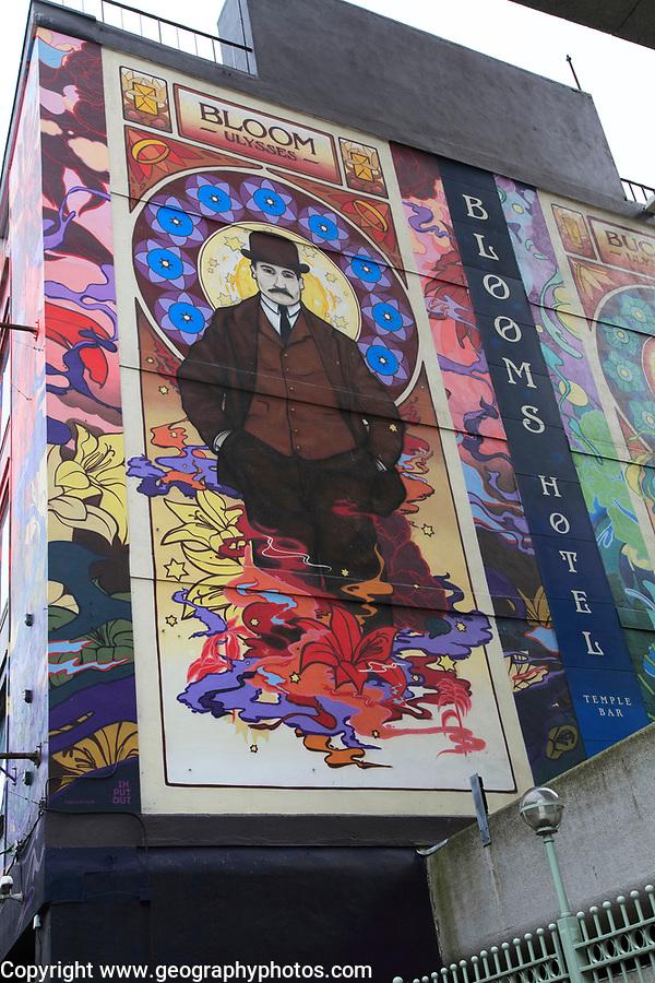 Mural on exterior wall of Blooms Hotel, Dublin city centre, Ireland, Republic of Ireland