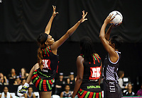 22.02.2018 Fiji's Alesi Paul and Malawi's Loreen Ngwira in action during the Fiji v Malawi Taini Jamison Trophy netball match at the North Shore Events Centre in Auckland. Mandatory Photo Credit ©Michael Bradley.