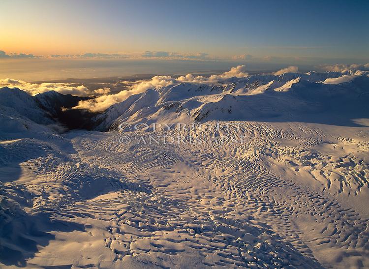 Aerial of Franz Josef Glacier. Westland National  Park. New Zealand.