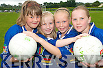 STARS: Young football stars from Milltown enjoying the Kerry GAA VHI Cul Camp in Milltown  on Thursday last..L/r. Shauna Kerins, Sara O'Connor, katie Pigott and Grainne Coffey.   Copyright Kerry's Eye 2008