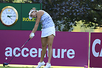 Lexi Thompson (USA) tees off the 13th tee during Friday's Round 2 of The Evian Championship 2018, held at the Evian Resort Golf Club, Evian-les-Bains, France. 14th September 2018.<br /> Picture: Eoin Clarke | Golffile<br /> <br /> <br /> All photos usage must carry mandatory copyright credit (&copy; Golffile | Eoin Clarke)