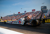 Jun 2, 2018; Joliet, IL, USA; NHRA top fuel driver Antron Brown during qualifying for the Route 66 Nationals at Route 66 Raceway. Mandatory Credit: Mark J. Rebilas-USA TODAY Sports