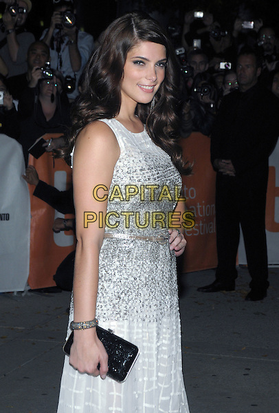 "Ashley Greene.""Butter"" Premiere - 2011 Toronto International Film Festival held at Roy Thomson Hall, Toronto, Ontario, Canada..September 13th, 2011.half length silver sleeveless dress bracelet black clutch bag side.CAP/ADM/BPC.©Brent Perniac/AdMedia/Capital Pictures."