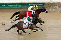 LOUISVILLE, KY - MAY 05: Benner Island #1, ridden by Javier Castellano, wins the Eight Belles Stakes ahead of Union Strike #2, ridden by Brice Blanc, on Kentucky Oaks Day at Churchill Downs on May 5, 2017 in Louisville, Kentucky. (Photo by Jon Durr/Eclipse Sportswire/Getty Images)