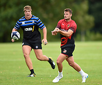 Josh Lewis of the Dragons passes the ball. Bath Rugby pre-season training on August 8, 2018 at Farleigh House in Bath, England. Photo by: Patrick Khachfe / Onside Images