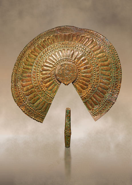 Ornamental Etruscan fans excavated from the Tomb of the Fans in Flabelli (Tomba dei Flabelli), late 7th - early 6th century B.C,   National Archaeological Museum Florence, Italy
