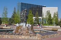 Rabinowitz courthouse and the first family statue in Golden heart plaza, downtown, Fairbanks, Alaska