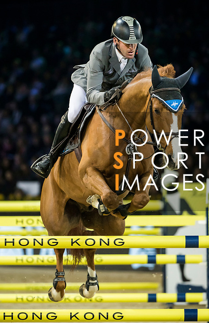 Philipp Weishaupt of Germany riding Lasse K competes in the Longines Grand Prix during the Longines Masters of Hong Kong at AsiaWorld-Expo on 11 February 2018, in Hong Kong, Hong Kong. Photo by Ian Walton / Power Sport Images