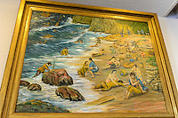 "A painting of the shipwreck of the San Francisco in 1609 near Onjuku, Onjuku Historical Museum, Onjuku, Japan, April 16, 2013. Onjuku is a small fishing village about 80km south-west of Tokyo. It is famous for surfing beach, ""ama"" free divers and association with the famous children's song ""Tsukinosabaku""."