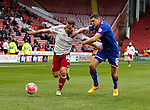 Billy Sharp of Sheffield Utd tussles with James Wilson of Oldham Athletic - FA Cup Second round - Sheffield Utd vs Oldham Athletic - Bramall Lane Stadium - Sheffield - England - 5th December 2015 - Picture Simon Bellis/Sportimage