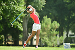 HOUSTON, TX - MAY 19: Gabriella Victoria of Barry University tees off during the Division II Women's Golf Championship held at Bay Oaks Country Club on May 19, 2018 in Houston, Texas. (Photo by Justin Tafoya/NCAA Photos via Getty Images)