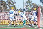 Santa Barbara, CA 04/16/16 - Peter Brydon (UCSB #30), David Abady (UCSB #25), James Harrison (UCSB #20) and Wesley Greason (Chapman #1) in action during the final regular MCLA SLC season game between Chapman and UC Santa Barbara.  Chapman defeated UCSB 15-8. in action during the final regular MCLA SLC season game between Chapman and UC Santa Barbara.  Chapman defeated UCSB 15-8.