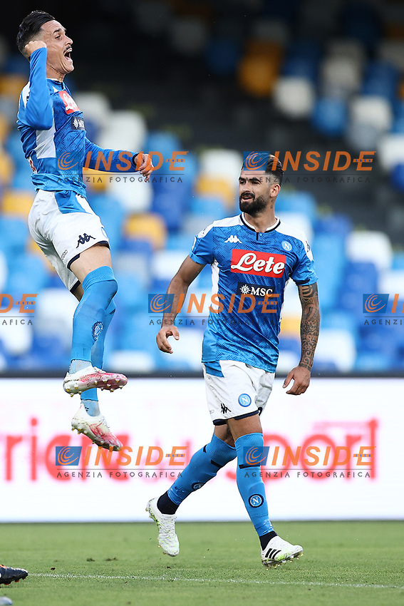 Jose Callejon of Napoli celebrates with  Elseid Hysaj <br /> during the Serie A football match between SSC  Napoli and SPAL at stadio San Paolo in Naples ( Italy ), June 28th, 2020. Play resumes behind closed doors following the outbreak of the coronavirus disease. <br /> Photo Cesare Purini / Insidefoto
