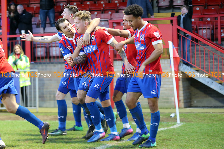 Jordan Maguire-Drew of Dagenham is congratulated after scoring the third goal during Dagenham & Redbridge vs Chester, Vanarama National League Football at the Chigwell Construction Stadium on 4th February 2017
