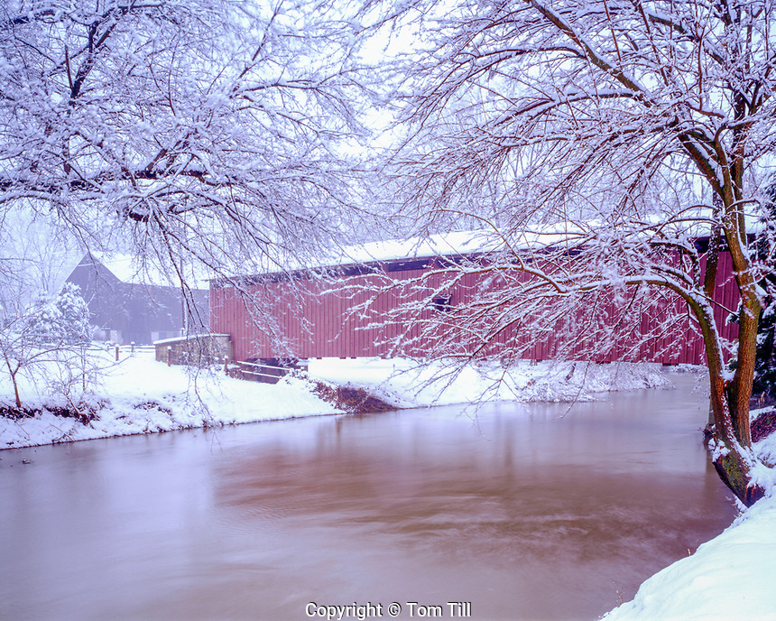 Covered Bridge in winter, near Lancaster, Pennsylvania, Pennsylvania Dutch Amish Country, Sunset, December