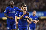 Pedro of Chelsea celebrates scoring his goal to make it 3-0 with team mate Victor Moses of Chelsea during the premier league match at Stamford Bridge Stadium, London. Picture date 30th December 2017. Picture credit should read: Robin Parker/Sportimage