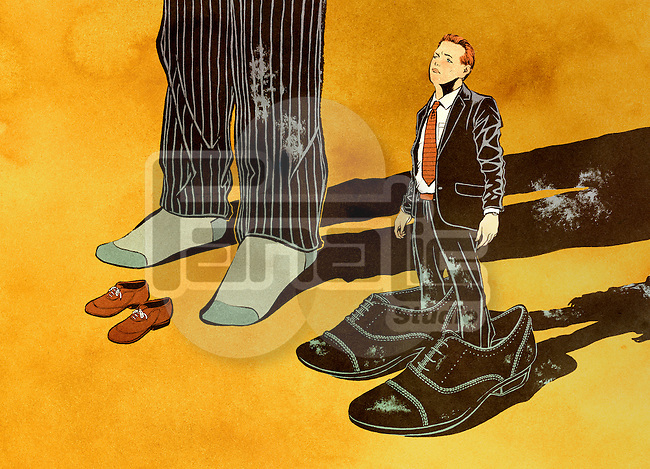 Two businessmen with odd-sized shoes