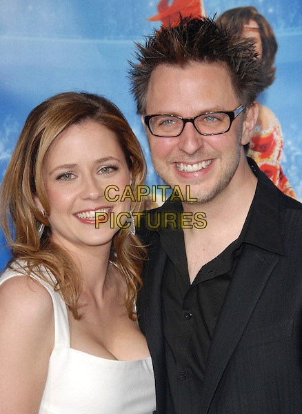 "JAMES GUNN & JENNA FISCHER.Attends The Paramount Pictures L.A. Premiere of ""Blades of Glory"" held at The Graumann's Chinese Theatre in Hollywood, California, USA. .March 28th, 2007.headshot portrait glasses .CAP/DVS.©Debbie VanStory/Capital Pictures"