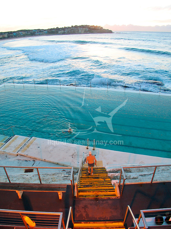 Training session at the Bondi Icebergs swimming club, Bondi Beach, Sydney in Australia.