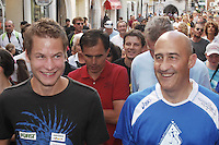 Alex Schwazer nella foto Alex Schwazer durante l'European Walking Competition con Maurizio Damilano ex campione olimpico di marcia a Mosca 1980 sport Vipiteno 30/08/2008 foto Matteo Biatta<br /> <br /> Alex Schwazer in the picture Alex Schwazer during the European Walking Competition with Maurizio Damilano former olimpic champion in running at Mosca 1980 sport Vipiteno 30/08/2008 photo by Matteo Biatta