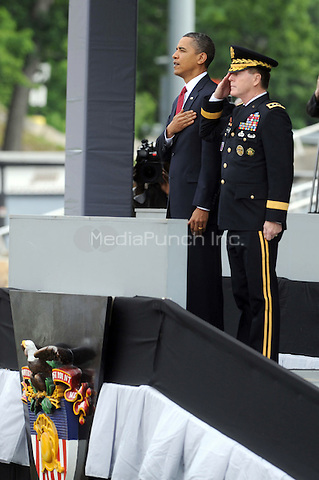 U.S. President Barack Obama with Lt. General Franklin Hagenbeck, Superintendent of the West Point Military Academy, during graduation and commissioning ceremonies at the United States Military Academy at West Point in West Point, New York. May 22, 2010.Credit: Dennis Van Tine/MediaPunch
