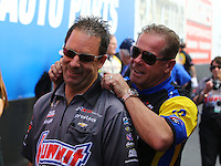 Feb 22, 2015; Chandler, AZ, USA; NHRA pro stock driver Greg Anderson (left) with Allen Johnson during the Carquest Nationals at Wild Horse Pass Motorsports Park. Mandatory Credit: Mark J. Rebilas-