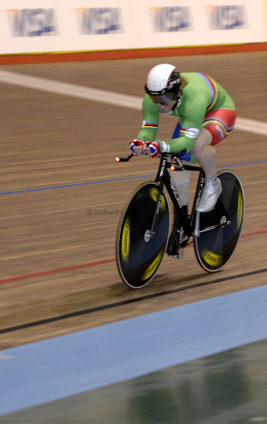 Photo: Richard Lane..VISA Paralympic World Cup 2007. Track Cycling. 11/05/2007. .Jody Cundy of Great Britain in the 1km Time Trial Final, male.