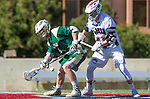Los Angeles, CA 02/06/16 - Austin Lord (Cal Poly #1) and Alec Negri (Loyola Marymount #45)in action during the Cal Poly SLO Mustangs vs Loyola Marymount Lions MCLA Men's Lacrosse game.  Cal Poly defeated LMU 24-5