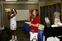 SAN ANTONIO, TX - APRIL 2:  School kids decorate the lockers of the Stanford players at the Final Four media day on April 2, 2010 in San Antonio, Texas. Nnemkadi Ogwumike and Jeanette Pohlen are pictured.