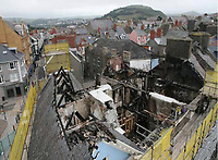 Pictured: Aerial view of the fire-hit hotel.<br /> Re: A man who killed a hotel guest after setting fire to his hotel, by lighting curtains and a linen cupboard, is due to be sentenced by Swansea Crown Court.<br /> 31 year old Damion Harris, of Llanbadarn Fawr, west Wales, admitted the manslaughter of Juozas Tunaitis, arson and inflicting grievous bodily harm.<br /> Belgrave House Hotel (Ty Belgrave Hotel) in Aberystwyth, Ceredigion was burned down in July 2018