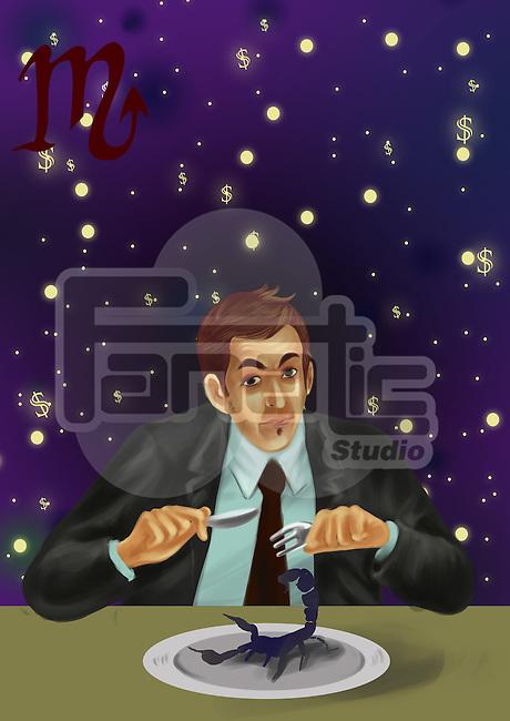 Businessman having scorpion as meal