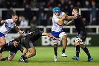 Zach Mercer of Bath Rugby takes on the Newcastle Falcons defence. Aviva Premiership match, between Newcastle Falcons and Bath Rugby on February 16, 2018 at Kingston Park in Newcastle upon Tyne, England. Photo by: Patrick Khachfe / Onside Images
