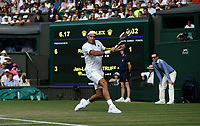Roger Federer (SUI) during his victory over Jan-Lennard Struff (GER) in their Gentleman's Singles Third Round match<br /> <br /> Photographer Rob Newell/CameraSport<br /> <br /> Wimbledon Lawn Tennis Championships - Day 5 - Friday 6th July 2018 -  All England Lawn Tennis and Croquet Club - Wimbledon - London - England<br /> <br /> World Copyright &not;&uml;&not;&copy; 2017 CameraSport. All rights reserved. 43 Linden Ave. Countesthorpe. Leicester. England. LE8 5PG - Tel: +44 (0) 116 277 4147 - admin@camerasport.com - www.camerasport.com