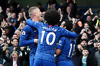 Chelsea's Pedro celebrates scoring his side's second goal with team-mates Willian, Ross Barkley<br /> <br /> Photographer Stephanie Meek/CameraSport<br /> <br /> The Premier League - Chelsea v Everton - Sunday 8th March 2020 - Stamford Bridge - London<br /> <br /> World Copyright © 2020 CameraSport. All rights reserved. 43 Linden Ave. Countesthorpe. Leicester. England. LE8 5PG - Tel: +44 (0) 116 277 4147 - admin@camerasport.com - www.camerasport.com