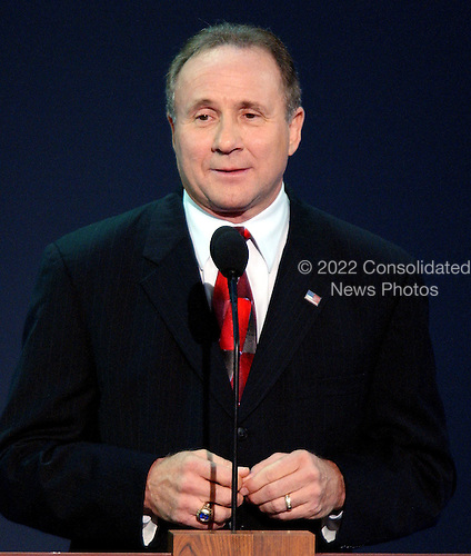 New York, NY - September 1, 2004 --  Michael Reagan, son of former United States President Ronald Reagan and his first wife, actress Jane Wyman, introduces a video tribute to his father at the 2004 Republican Convention in Madison Square Garden in New York on Wednesday, September 1, 2004..Credit: Ron Sachs / CNP.(RESTRICTION: No New York Metro or other Newspapers within a 75 mile radius of New York City)