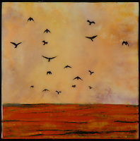 Mixed media encaustic painting with photography of birds flying over a red ocean.