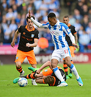 Huddersfield Town's Rajiv van La Parra vies for possession with Sheffield Wednesday's Sam Winnall<br /> <br /> Photographer Chris Vaughan/CameraSport<br /> <br /> The EFL Sky Bet Championship Play-Off Semi Final First Leg - Huddersfield Town v Sheffield Wednesday - Saturday 13th May 2017 - The John Smith's Stadium - Huddersfield<br /> <br /> World Copyright &copy; 2017 CameraSport. All rights reserved. 43 Linden Ave. Countesthorpe. Leicester. England. LE8 5PG - Tel: +44 (0) 116 277 4147 - admin@camerasport.com - www.camerasport.com