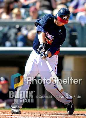 5 March 2007: Atlanta Braves catcher Brian McCann in action against the Washington Nationals at Disney's Wide World of Sports in Orlando, Florida. The Braves are celebrating 10 years of Spring Training at the Disney facility.<br /> <br /> Mandatory Photo Credit: Ed Wolfstein Photo