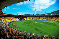 A general view at the start of the One Day International cricket match between the New Zealand Black Caps and England at the Westpac Stadium in Wellington, New Zealand on Friday, 2 March 2018. Photo: Dave Lintott / lintottphoto.co.nz