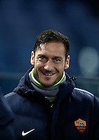 Calcio, Serie A: Roma vs Cagliari, Roma, stadio Olimpico, 22 gennaio 2017.<br /> Roma&iacute;s Francesco Totti waits for the start of the Italian Serie A football match between Roma and Cagliari at Rome's Olympic stadium, 22 January 2017.<br /> UPDATE IMAGES PRESS/Isabella Bonotto
