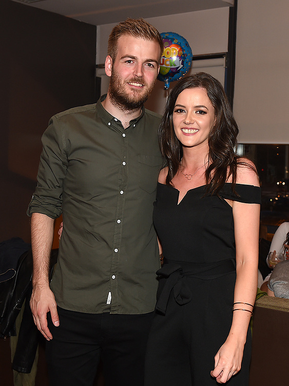 Rachel Grimes pictured with boyfriend Damien Tuffy at her birthday and leaving party in Brú. Photo:Colin Bell/pressphotos.ie