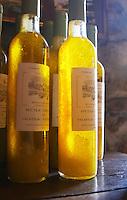 Bottles of olive oil Chateau Vannieres (Vannières) La Cadiere (Cadière) d'Azur Bandol Var Cote d'Azur France