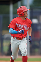 GCL Phillies West Luis Rojas (2) during a Gulf Coast League game against the GCL Yankees East on July 26, 2019 at the New York Yankees Minor League Complex in Tampa, Florida.  (Mike Janes/Four Seam Images)
