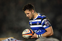 Max Green of Bath Rugby looks to put the ball into a scrum. Premiership Rugby Cup match, between Bath Rugby and Gloucester Rugby on February 3, 2019 at the Recreation Ground in Bath, England. Photo by: Patrick Khachfe / Onside Images
